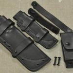 Disassembled WSK & BK018 Scout knife FACS sheath combo shown w/removable scout loops. mounting straps/hardware & large accessory pouch.