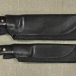 WSK & SCOUT knife FACS sheaths. Std. (BASIC) design w/no mounting holes. Front view. (Note: Prototype set shown w/rivets no longer used).